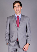 Mantoni Men's Slim Fit Light Grey Sharkskin 2-Button Wool Suit $175