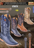 SKU#W44S Los Altos Grasso w/ Leather Sole Rodeo Men's Cowboy Boots Diff. Colors/Sizes