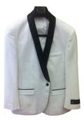 SKU#7Z3C Men's One Button Slim Fit Tuxedo Jacket White with Black Lapel