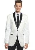 Sku#E45D Men's 1 One Button White and Black Lapel Shawl Collar Blazer, Dinner Jacket