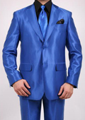 Tapered Leg Lower Rise Pants & Get Skinny Shiny Sharkskin Flashy Metallic Men's Royal Blue Two-Button 2-Piece Slim Fit Suit $595