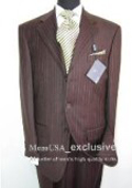 SKU TnT199 Elegant Chocolate Brown Tone on Tone Shadow Stripe Super 140s Wool Suit 149