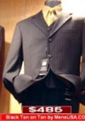 Black Ton On Ton Pinstripe Vested 3 Buttons Mens Suits Son Sale $159