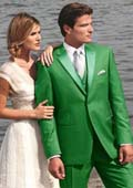 SKU#G5RE Stunning Green Two Button Tuxedo $595