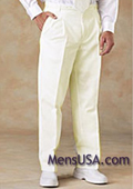 SKU#HNA2 Men's Pleated Pants / Slacks Plus White Shirt & Matching Tie Ivory