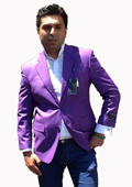 SKU#T73C Stage Party Bright Mens 2 Button Sport Coat / Dinner Jacket Blazer Purple Color $120