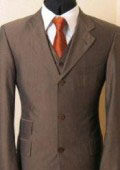 SKU SRM375 Vested Brown Shark Skin Ticket Pocket Shadow Unvisible Pinstripe 3 Buttons Mens Suits 185