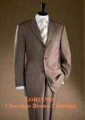 SKU GGD955 Loriano Chocolate Brown 3 Buttons Mens Super 120s Wool 295