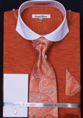 SKU#P2PE Men's Spread Collar French Cuff Dress Shirt, Tie, Hanky & Cuff Links - Two Tone Orange $65