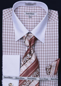 Men's French Cuff Dress Shirt - Two Tone Stripe Brown $65
