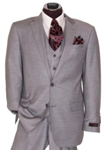 Mens 2 Button Light Grey Regular Basic Cut Flat Front Pants Three Piece Suit