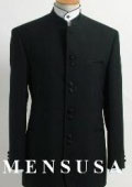 Black Mandarin Collar Tuxedo Suit Light Weight Soft Fabric $229