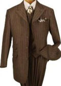 SKU TIT264 T64PA Bold Stripe Three Piece Wide Leg Peak Lapel Zoot Suit 139