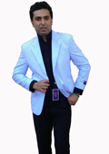 SKU#R3FF Two-Button Blue Seersucker Sport Coat, Jacket, Blazer