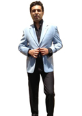 Men's Two Button Blazer Light Blue ~ Sky~Baby~Powder Blue $139