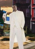 Men's Super Stylish Long Off White/Ivory/Cream Fashion Dress Zoot suit 38 Inch Long $175