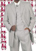 SKU RF76 Mens Silver Gray 4 Buttons 34 Inch Jacket Long Suits Vested Covered Buttons Wide Leg Pants 1