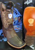 SKU#NN45X Wild West Square Brown Genuine Shark Rodeo Western Cowboy Boot