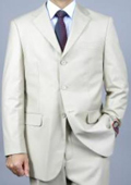 Solid Bone 3-Button Suit