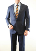Mens 1 Button Front Closure Slim Fit Peak Lapel Ton on Ton Herringbone Shadow Patterned Suit Navy