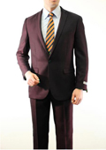Mens 1 Button Front Closure Slim Fit Peak Lapel Ton on Ton Herringbone Shadow Patterned Suit Brown $139