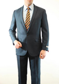 Mens 1 Button Front Closure Slim Fit Peak Lapel Ton on Ton Herringbone Shadow Patterned Suit Slate