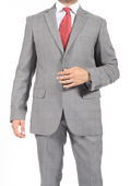 Two Button Slim Fit Light Grey Check Men's Suit