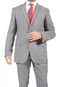 Two Button Slim Fit Light Grey Check Men's Suit $115