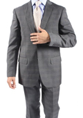 Two Button Slim Fit Brown Window Pane Glen Plaid Men's Suit $149