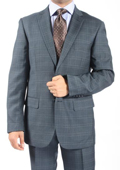 Two Button Slim Fit Grey Blue Window Pane Glen Plaid Suit $149