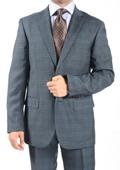 Two Button Slim Fit Grey Blue Window Pane Glen Plaid Suit $149