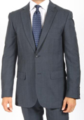 2 Button Slim Fit Blue Subtle Glen Plaid Men's Suit $149