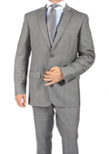 2 Button Slim Fit Light Grey Subtle Plaid Men's Suit