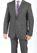 2 Button Slim Fit Charcoal Glen Plaid & Checks Men's Suit $149