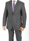 2 Button Slim Fit Charcoal Glen Plaid & Checks Men's Suit $149