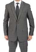 2 Button Slim Fit Charcoal Subtle Glen Plaid Men's Suit $149
