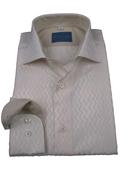 SKU#HV7382 Mens 100% Cotton L/S Shirt Ivory Leonardo Valenti Brand