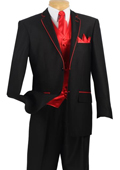 Men's 5 Piece Tuxedo Elegance Suit - Fancy Trim Black with Red