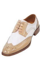 Mens Two-Toned Oyster and White Classic Smooth Dress Shoe with Wing-Tip $99