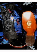 SKU#JE5689 Wild West Genuine Ostrich Leg Square Black Rodeo Western Cowboy Boot