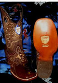 SKU#KL5628 Wild West Genuine Ostrich Leg Square Brown Rodeo Western Cowboy Boot