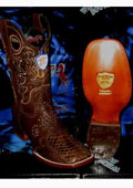 SKU#FP6201 Wild West Genuine Python ~ Snake Square Brown Rodeo Western Cowboy Boot