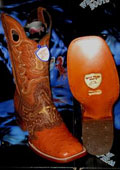 SKU#RN7302 Wild West Genuine Ostrich Square Cognac Rodeo Western Cowboy Boot