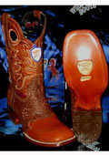 SKU#NR1894 Wild West Square Cognac Genuine Shark Rodeo Western Cowboy Boot
