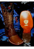 SKU#TH7856 Wild West Genuine Ostrich Square Brown Rodeo Western Cowboy Boot