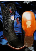 SKU#TB6728 Wild West Square Black Genuine Shark Rodeo Western Cowboy Boot