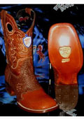 SKU#KL6783 Wild West Square Cognac Genuine Shark Rodeo Western Cowboy Boot