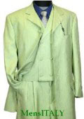 SKU MUt65sv Lime Green Fashion Suit with Double Breasted Vest and Wide Leg Pants 139