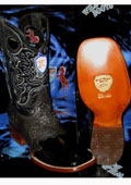 SKU#JE5201 Wild West Genuine Ostrich Leg Square Black Rodeo Western Cowboy Boot