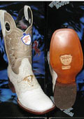 SKU#DK5623 Wild West Genuine Crocodile ~ Alligator Belly Square White Rodeo Western Cowboy Boot